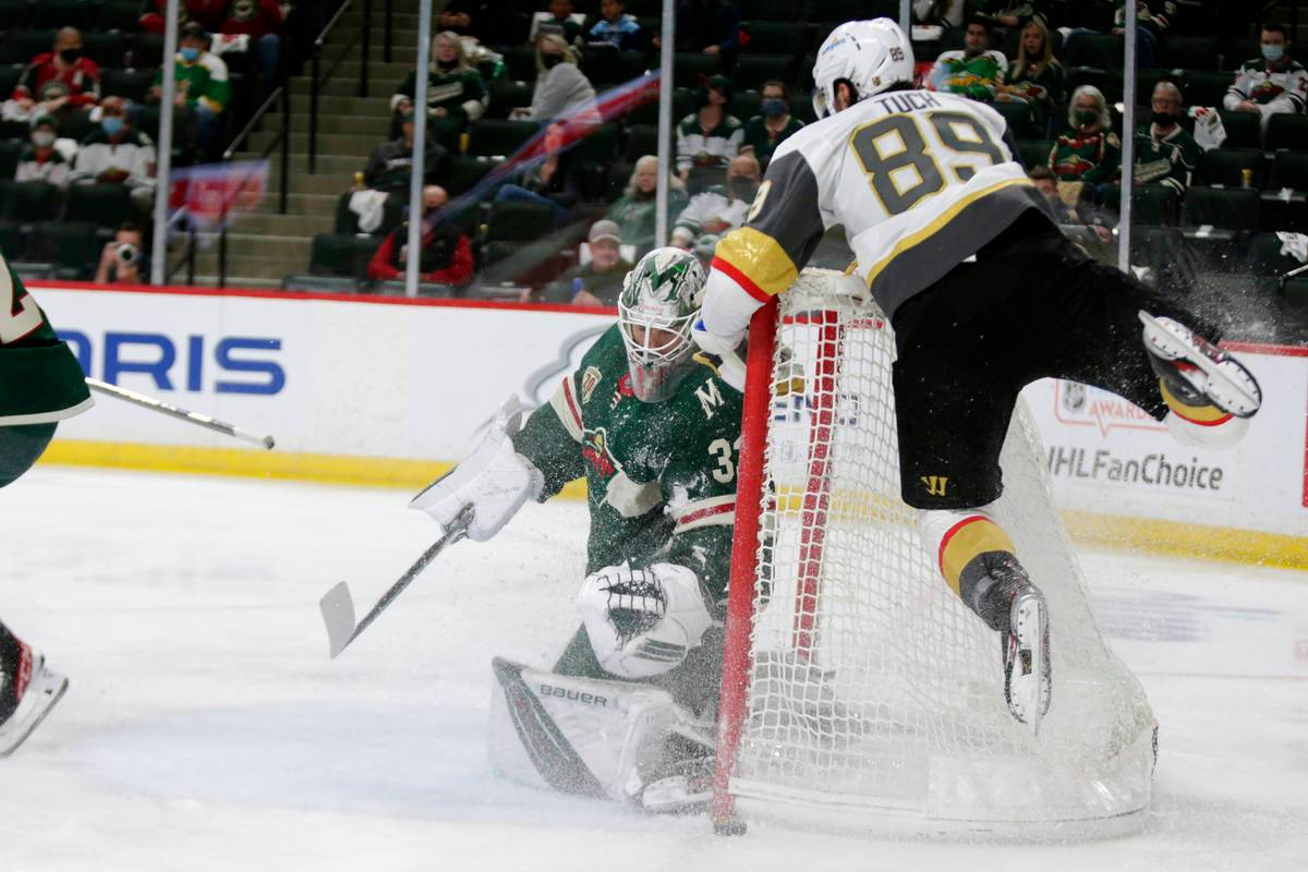Golden Knights blow another 3-1 series lead but get to host Game 7 Wild forces Game 7 in playoffs Minnesota Wild goaltender Cam Talbot (33) stops a shot by Vegas Golden Knights right wing Alex ...Minn