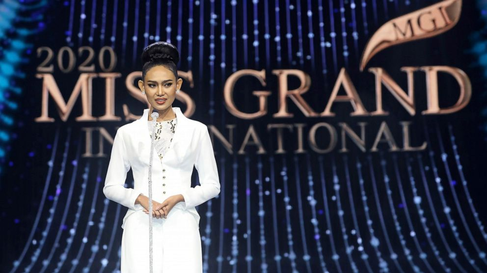pageant contestant from Myanmar has used her moment in the spotlight to appeal for urgent international help for her country as